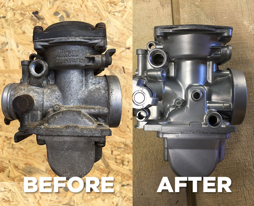 Carburettor Before and After Blasting
