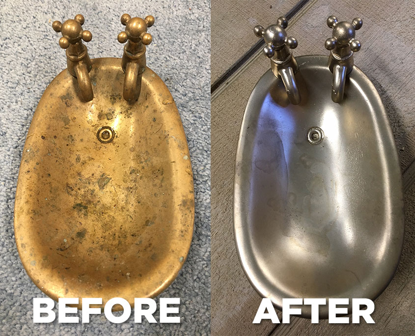 Before and After of a Brass Soap Dish